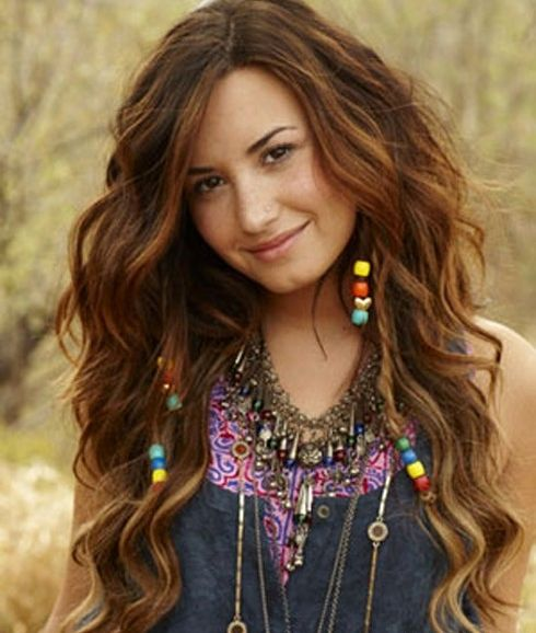 Demi Lovato Long Hairstyle With Beaded Braids Casual