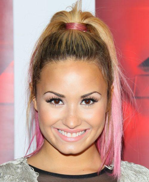 Demi Lovato's Long Straight Blonde Hair In Flirty High Ponytail