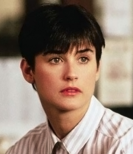 Demi Moore's androgynous short haircut with fringe bangs