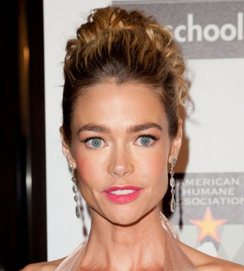 Denise Richards's Long Curly Blonde Hair In Formal Updo