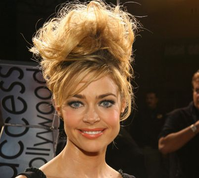 Denise Richards's Long Hair In Vintage Messy Beehive Hairdo