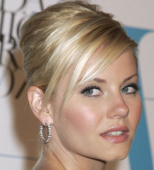 Elisha Cuthbert's Blonde Straight Hair In Elegant Formal Updo