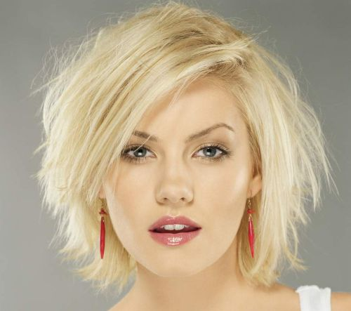Elisha Cuthbert's Platinum Blonde Hair In Textured Bob Hairstyle