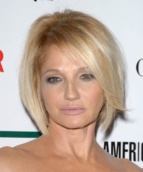 Ellen Barkin's Platinum Blonde Straight Hair In Sexy Wedge Hairstyle