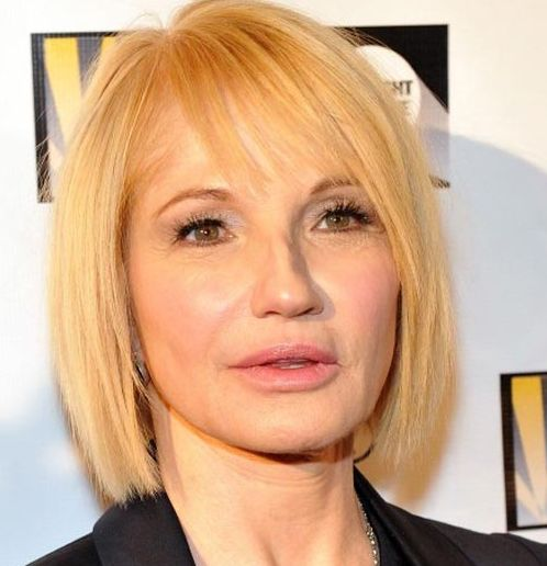 Ellen Barkin's Straight Blonde Hair In Short Sleek Bob