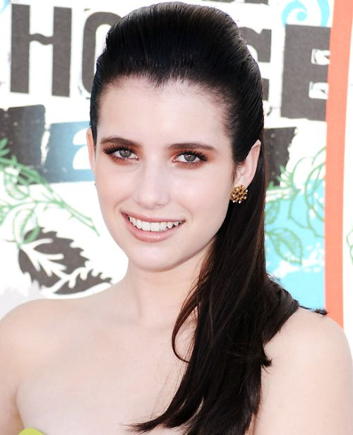 Emma Roberts's Brown Hair In Straight Sleek Half-Up Hairdo