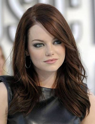 Emma Stone's Long Brunette Straight Hair With Long Layers