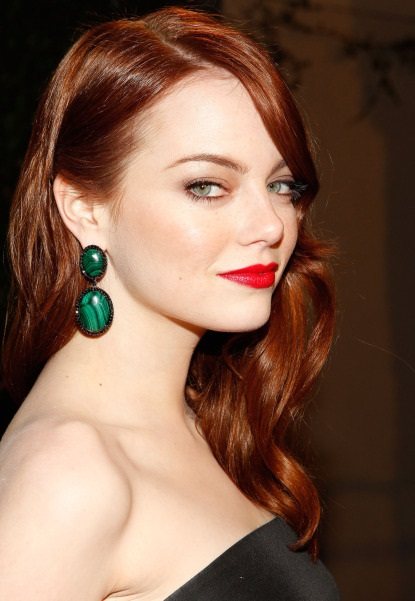 Emma Stone Sporting An Old Hollywood Glamour Side-Swept Hairstyle