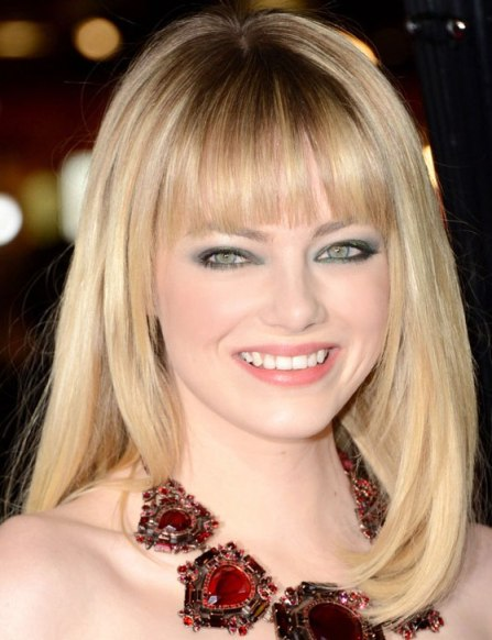 Emma Stone Straight Blonde Medium Hairstyle With Blunt Bangs