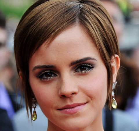 Emma Watson's Straight Brown Hair In Short Wedge Hairstyle