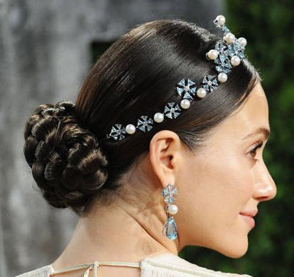 Emmy Rossum's Braided Chignon With Glittery Pearl Tiara
