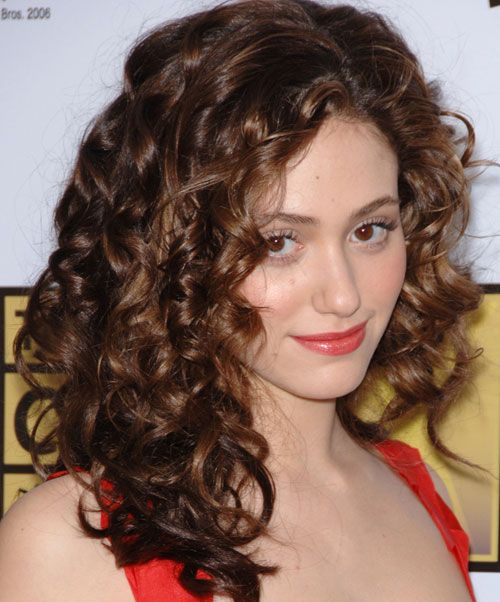 Emmy Rossum's Brown Hair In Voluminous Curly Hairstyle