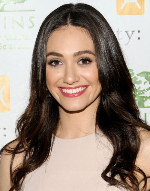 Emmy Rossum's Dark Brown Hair In Long Loose Wavy Hairstyle