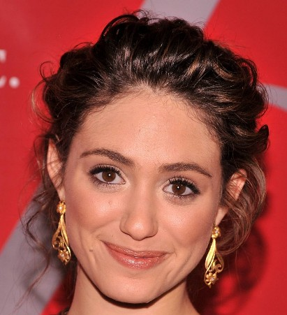 Emmy Rossum's Pretty Curly Brown Hair In Romantic Updo