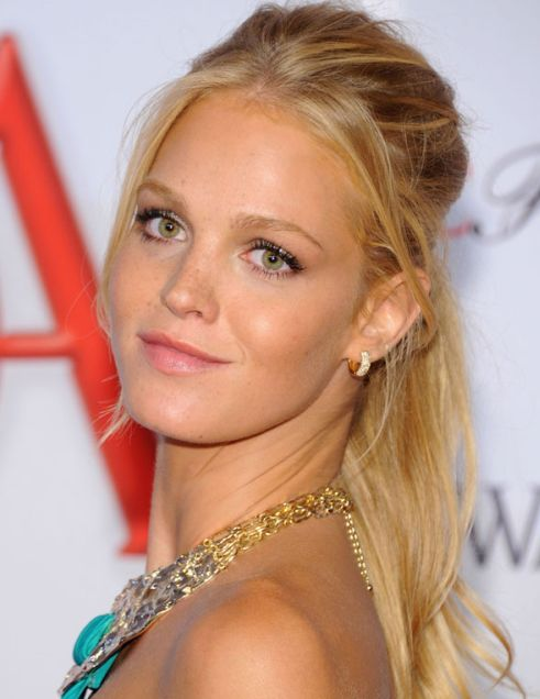 Erin Heatherton's Long Straight Blonde Hair In Half-Up Hairdo