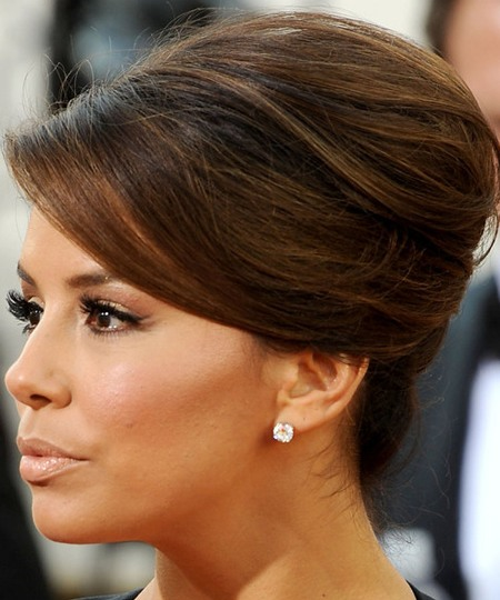 Eva Longoria Brown Hair In Formal French Twist Updo Hairdo