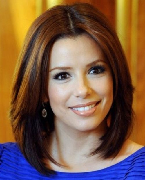 Eva Longoria's Brown Hair In Medium-Length Straight Layered Hairstyle
