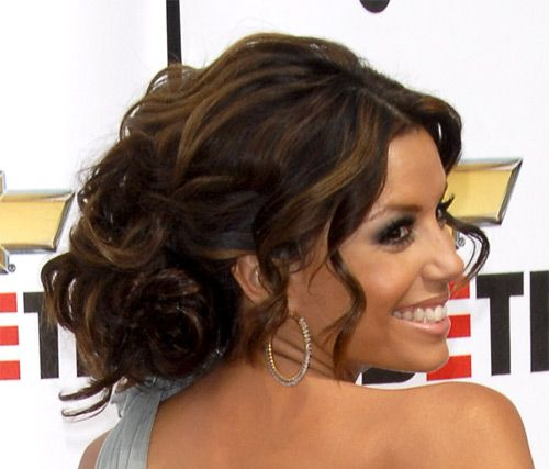 Eva Longoria's Brown Hair In Romantic Curly Formal Updo