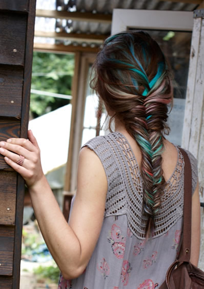 Multicolored Hairstyle with a Few Colored Streaks