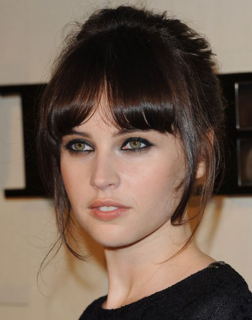 Felicity Jones's Dark Brown Straight Hair In Updo With Bangs
