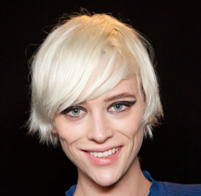 Fine Platinum Blonde Hair In Short Hairstyle With Side Bangs