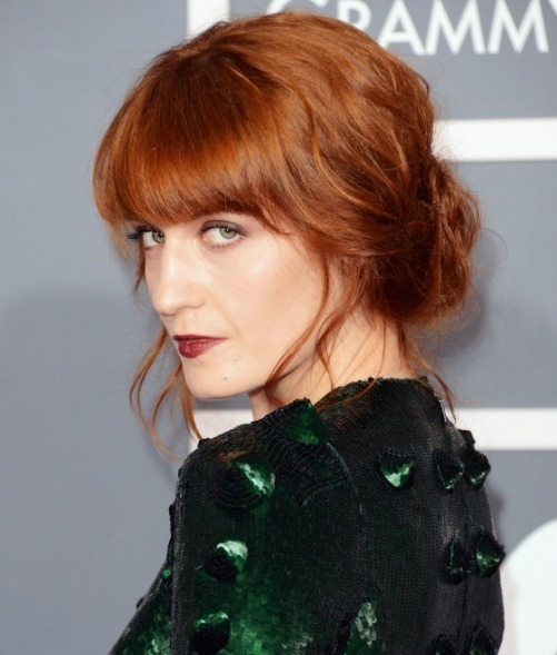 Florence Welch Messy Chignon Updo