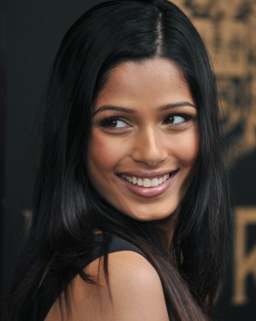 Freida Pinto's Dark Brown Hair In Long Straight Sleek Hairstyle