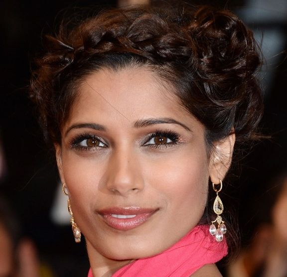 Freida Pinto's Long Brown Hair In Twisted Braided Formal Updo