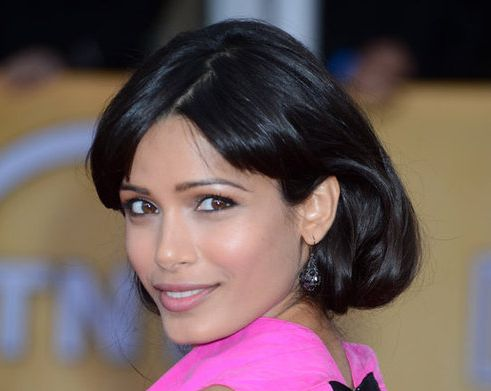 Freida Pinto's Long Straight Brown Hair In Faux bob Hairdo