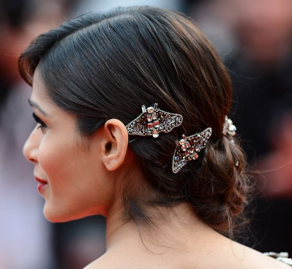 Freida Pinto's Long Straight Hair In Braided Updo With Barrettes