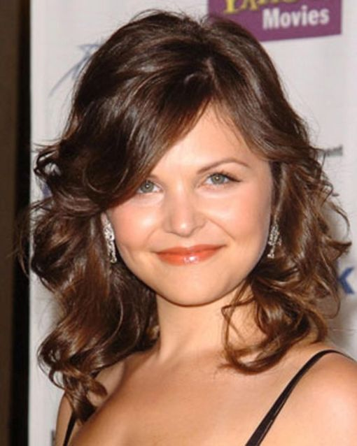 Ginnifer Goodwin's Medium-Length Brown Hair In Layered Formal Hairstyle