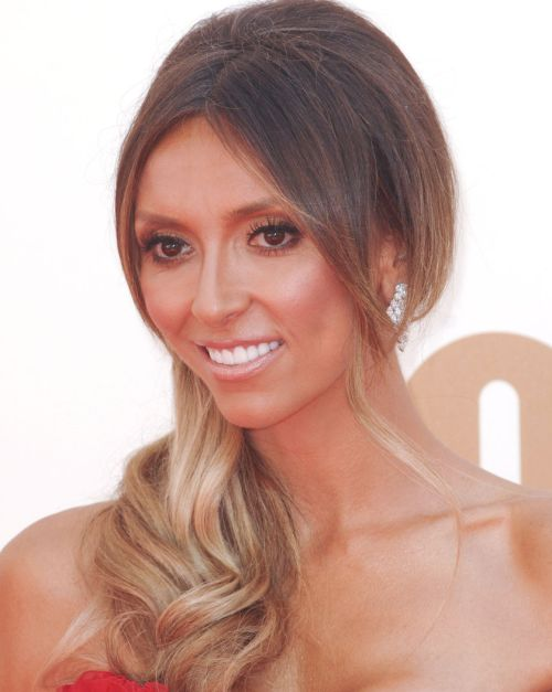 Giuliana Rancic's Long Brown Straight Hair In Sideswept Formal Hairdo