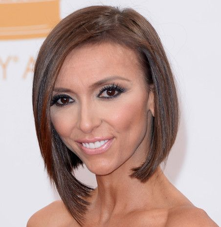 Giuliana Rancic's Straight Brown Hair In Sleek Angled Bob Hairstyle