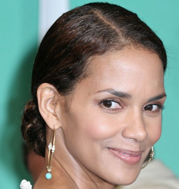 Halle Berry's Brown Hair In Elegant Formal Chignon Hairdo