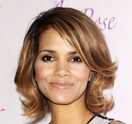 Halle Berry's Brown Hair In Medium Flipped Out Layered Hairstyle