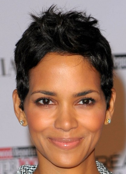 Halle Berry's Short Black Hair In Straight Pixie Mature Hairstyle