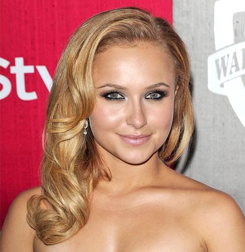 Hayden Panettiere's Long Blonde Hair In Formal Wavy Sideswept Hairdo