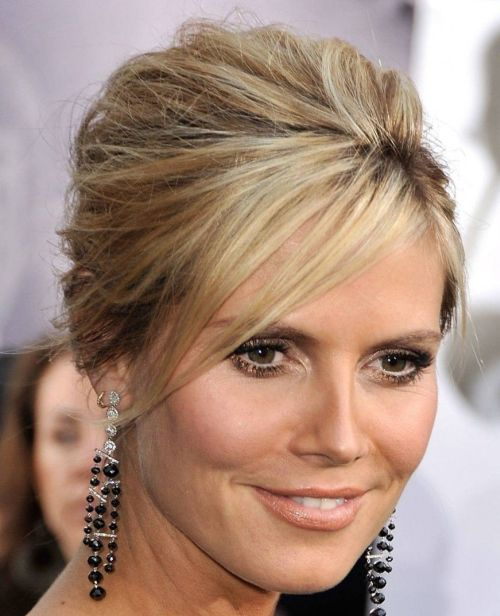Heidi Klum's Blonde Hair In Sleek Elegant Formal Updo Hairdo