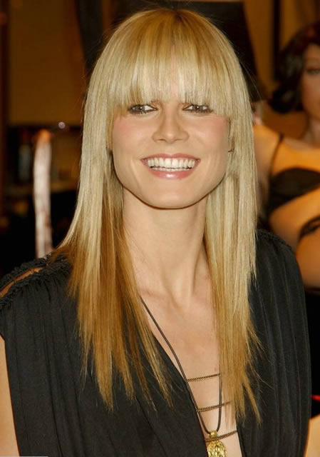 Heidi Klum's Long Straight Blonde Hair with a Cute Fringe