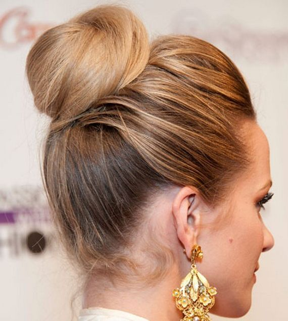 Hilary Duff's Long Blonde Hair In Ballerina Bun Updo