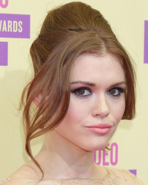 Holland Roden's Long Red Hair In Bouffant Formal Updo Hairdo