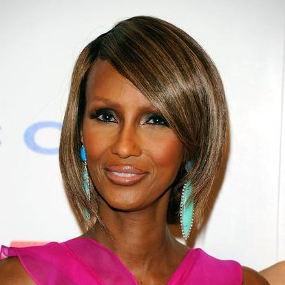Iman's Straight Brown Hair In Chic Elegant Wedge Hairstyle