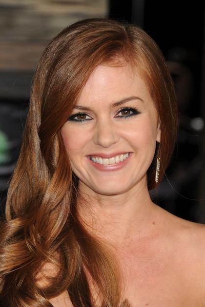 Isla Fisher Long Red Wavy Hairstyle With Sideswept Bangs