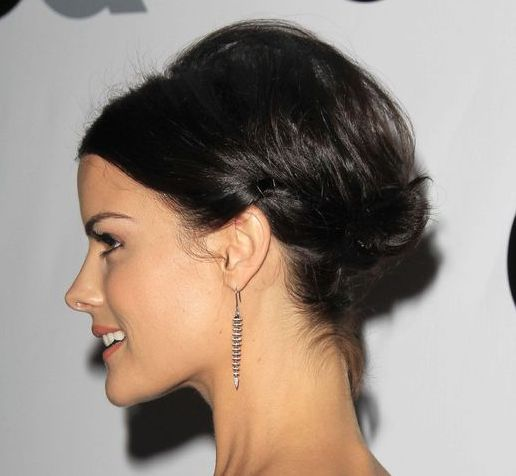 Jaimie Alexander's Straight Dark Brown Hair In Sleek Elegant Updo