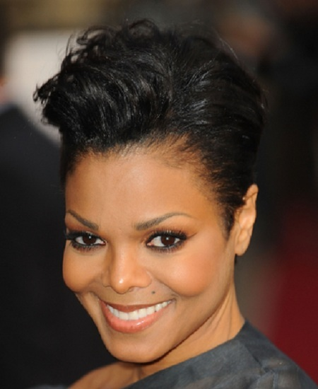 Janet Jackson Black Hair In Short Cropped Wavy Hairstyle