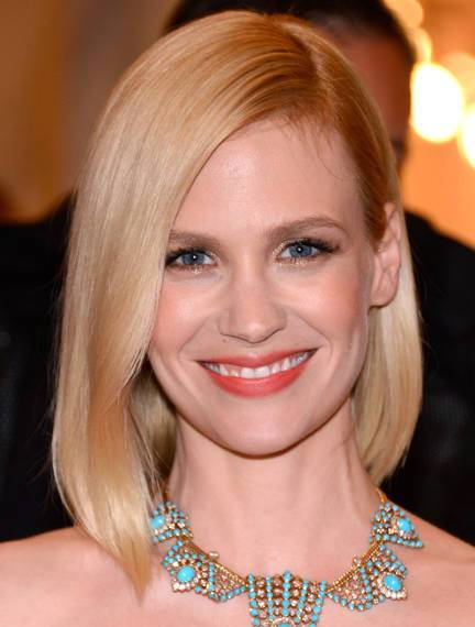 January Jones Sleek Straight Platinum Blonde Grown Out Bob Hairstyle