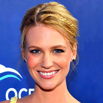 January Jones's Straight Blonde Hair In Pretty Updo With Braids