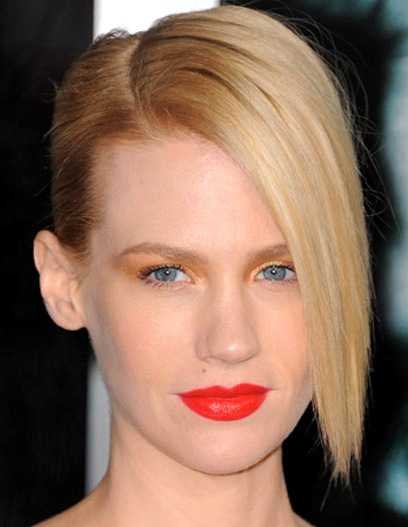 January Jones's Straight Blonde Hair In Simple Formal Updo
