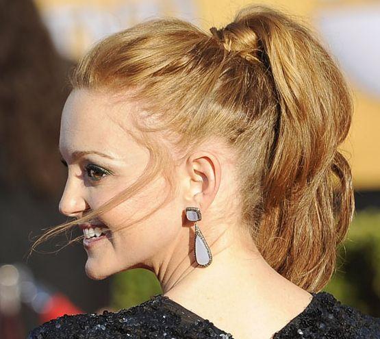 Jayma Mays's Long Red Hair In Formal Ponytail Hairdo