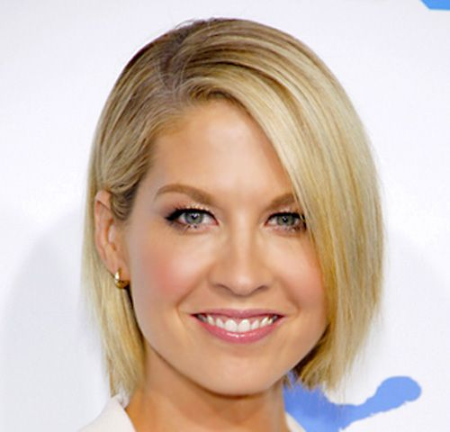 Jenna Elfman's Blonde Hair In Straight Chin-Length Bob Hairstyle